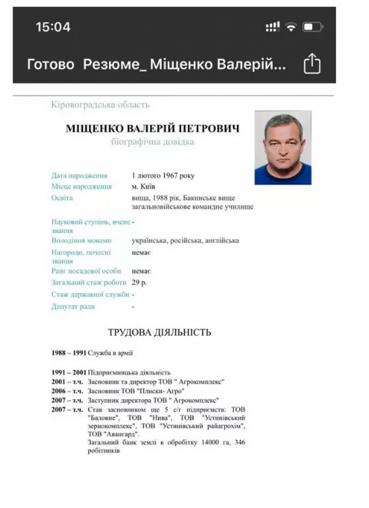 анкета міщенко голови кіровоградської ода